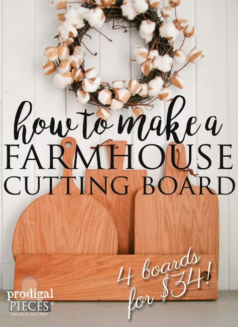 Farmhouse Cutting Board & Cheese Board DIY - Prodigal Pieces - Make Your Own Collection of Farmhouse Cutting Boards from One Board with this Tutorial by Prodigal - Farmhouse Cutting Boards, Diy Cutting Board, Wood Cutting Boards, New Kitchen Diy, Kitchen Wood, Kitchen Ideas, Kitchen Country, Kitchen Decor, Kitchen Tips