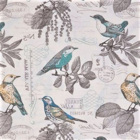Birds Fabric, Cotton Fabric, Natural Fabric, Lansing Fabric, Duck Fabric, Branches Fabric, Fabric by the yard, Leaves Fabric, Breeze Fabric