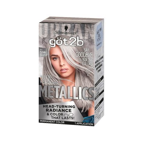Got2b Color Metallic Silver 1 Kit Silver Hair Dye Grey Hair Dye
