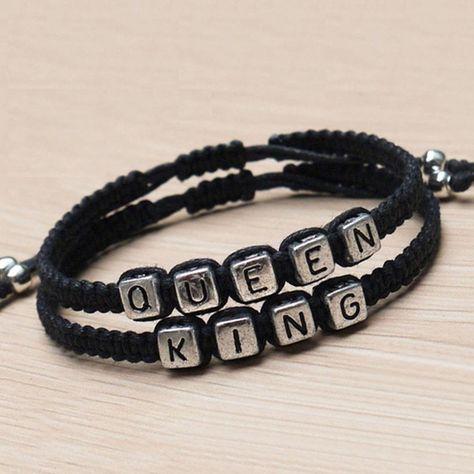1Pair Handmade Couples Bracelets Set King And Queen Bracelet Lovers Bracelets