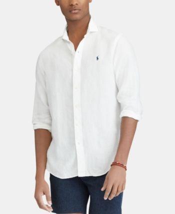 Polo Ralph Lauren Men's Slim Fit Linen Shirt - Pure White L ...