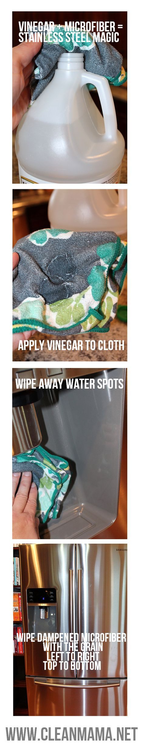 This is all you need for sparkling, streak free stainless steel appliances. Vinegar + Microfiber = Stainless Steel Magic via Clean Mama