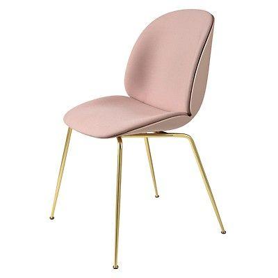 Chaise Beetle Coque Plastique Et Tissu Steelcut Pietement Laiton Gubi Dining Chairs Fabric Kitchen Chairs Fabric Dining Chairs