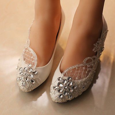 5a86a364fc5 Lace bride wedding gem shoes High heel Low heel Flat bridesmaid prom party  shoes