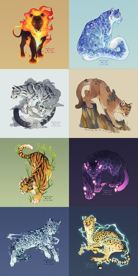 elementals by hawberries on DeviantArt Cute Animal Drawings, Animal Sketches, Cute Drawings, Wolf Drawings, Big Cats Art, Furry Art, Cat Art, Cute Fantasy Creatures, Mythical Creatures Art
