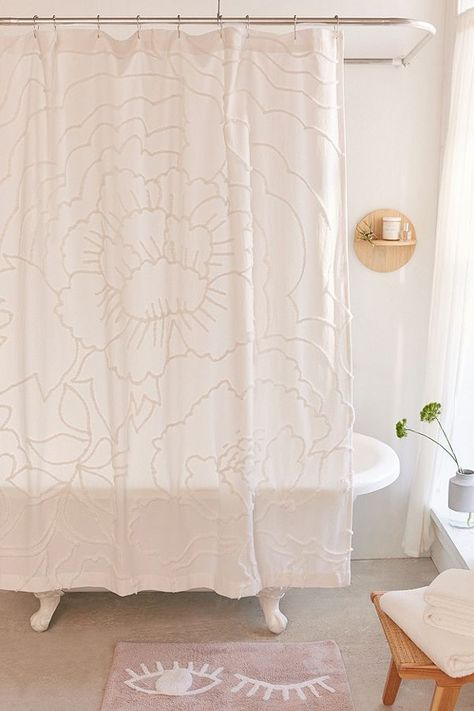 Margot Tufted Floral Shower Curtain In White Urban Outfitters