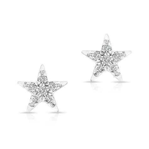 14kt White Gold Diamond Bellatrix Star Stud Earrings