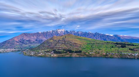A new photo from Queenstown of the Remarkables with Deer Park Heights in the foreground. This perspective actually makes DPH look pretty huge, but it's quite small compared to the mountains in the background. If you're a geology nerd like me, then you may identify this as a Nunatak, and it is formed when two glaciers come together to carve out these shapes. It's a little like a terminal moraine because it the leftover part of the rocks after a glacier melts. #TreyRatcliff #Landscape #HDR
