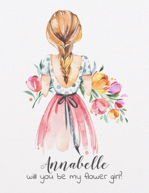 Springtime Flower Girl Illustration Invitation Postcard Spring by JunkyDotCom - Cute pastel hand drawn watercolor girl with colorful flowers. Lovely for a bridesmaid or flower girl.