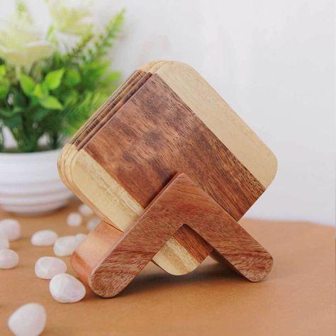 Walnut & Birch Segmented Wooden Coasters With Holder