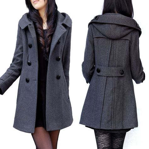Cheap coat tail jacket, Buy Quality jacket images directly from China coat fabric Suppliers: Double Bristed Warm Wool Coat with Hood Long Winter Jacket Black Grey Plus Size Thick Winter Coat Casacos Femininos Hood