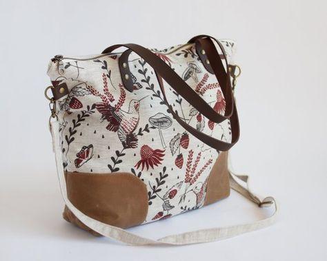 Hummingbirds Linen and Waxed Canvas Journey Bag. Shoulder Bag. Tote. Across  body bag. Book Bag. Purse. Patterned Bag. Screenprinted Bag. cd62c84053eb9