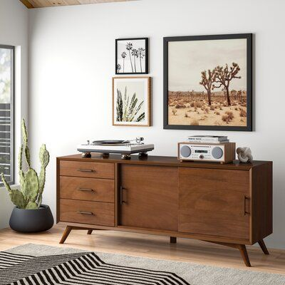 Modern Rustic Interiors Parocela Cabinet/Enclosed Storage TV Stand for TVs up to 70 inches Color: Acorn Boho Living Room, Living Room Decor, Living Room Furniture, Modern Furniture, Furniture Design, Wood Drawers, Mid Century Modern Design, Modern Rustic Interiors, Mid-century Modern