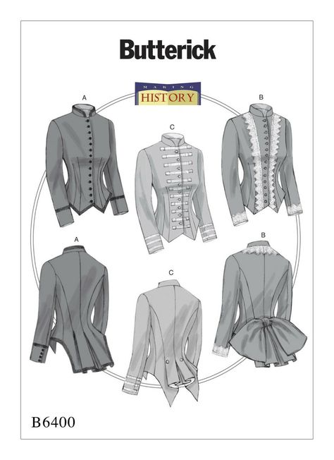 BUTTERICK 6400 Misses Victorian Steampunk Military Jacket Costume Sewing Pattern | eBay