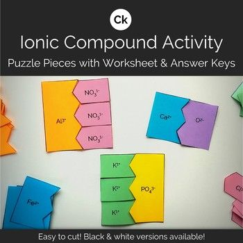 This Ionic Compound Formation Puzzle Pieces Is A Hands On Manipulative And Corresponding Worksheets One For Monatom Ionic Compound Ionic Chemistry Activities