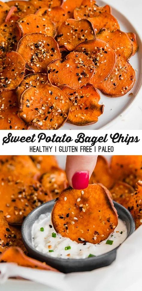 These sweet potato everything bagel chips are the ultimate crunchy snack! They're a healthy paleo chip made with everything bagel seasoning. Paleo Chips, Healthy Chips, Manger Healthy, Paleo Sweet Potato, Baked Sweet Potato Chips, Sweet Potato Meals, Sweet Potato Toast, Think Food, Healthy Meal Prep