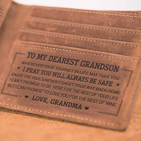 Perfect Gifts For My Grandson Engraved Leather Wallet   Family Gift Love – Family Love Gifts