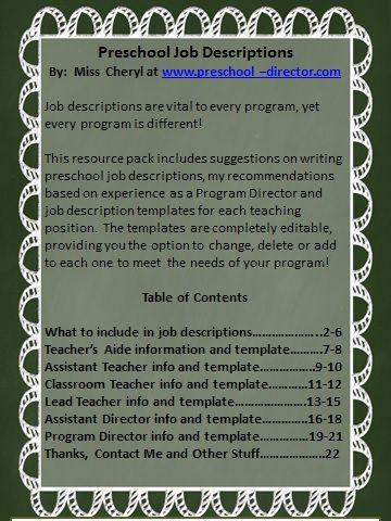 Preschool Job Description Resource Packet with editable templates - director job description