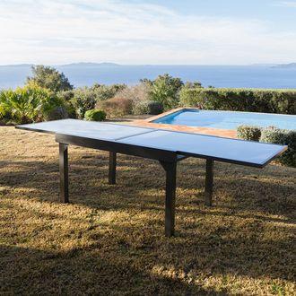 Table De Jardin Extensible Aluminium Double Plateau Verre