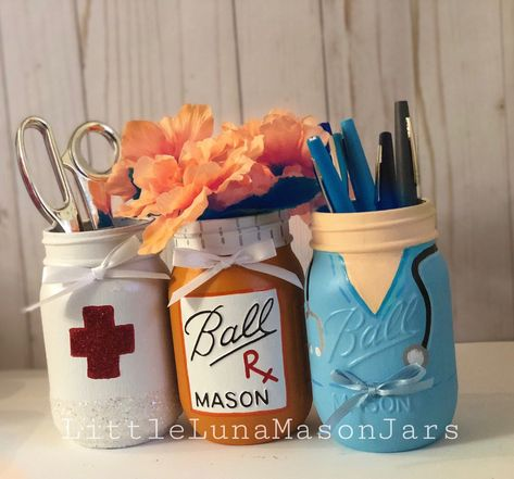 Excited to share this item from my #etsy shop: Doctor or nurse inspired mason jar set, desk organizer, pencil and pen holder, nurse appreciation day, doctor or nurse gift