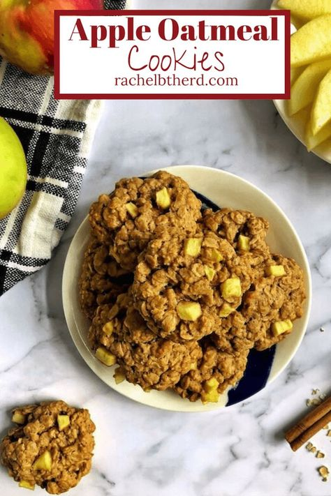 These soft and chewy apple oatmeal cookies are a great addition to your fall baking! It's your favorite oatmeal cookie taken up a notch with fall flavors like apples, cinnamon, and nutmeg. Enjoy as a snack, dessert, or even breakfast! #oatmealcookies #dessert #fallbaking #applerecipes #cookierecipe