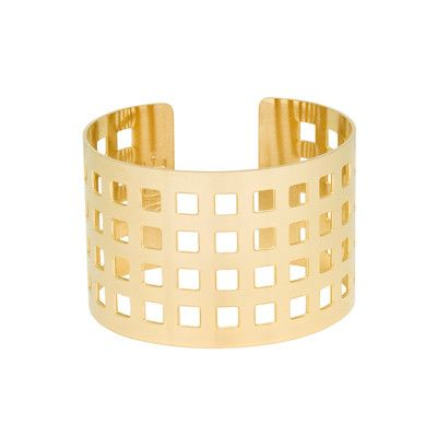 The Macon will get you noticed. Bold and geometric it will quickly become your go-to cuff when you want to make a statement. As seen on Entourage actress, Sabina Gadecki and fashion blogger, Chriselle Lim. #MaconCuff on Instagram DETAILS Cuff bracelet with cut out grid detail 1.5 inch width Available in gold, rose gold, and rhodium plating Small wrist? Our cuffs are adjustable—gently squeeze for a Svelte fit Proudly made in the USA