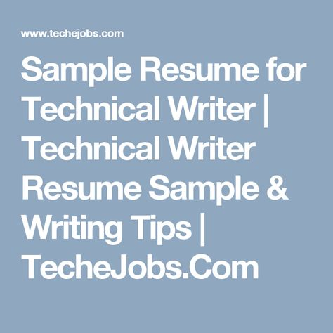 Sample Resume for Technical Writer Technical Writer Resume - writer resume sample