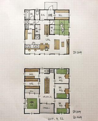 40坪の間取り 洗面所とパントリー兼キッチン作業スペースが2wayで