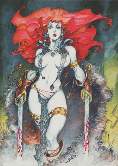 Red Sonja by Alfonso Azpiri - Original Cover Red Sonja, Fantasy Women, Fantasy Art, Fantasy Characters, Female Characters, Serpieri, Heavy Metal Art, Conan The Barbarian, Bd Comics