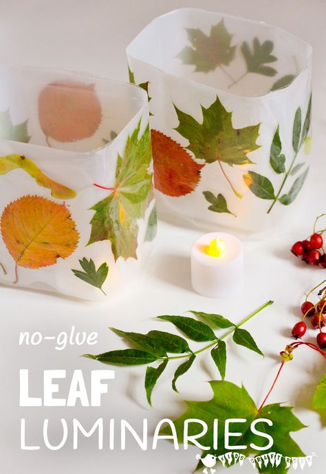 DIY Leaf Luminaries are so gorgeous and so simple to make! Whether you have tiny tots or big kids this is a fabulous no-glue, no-mess must-do Fall craft.