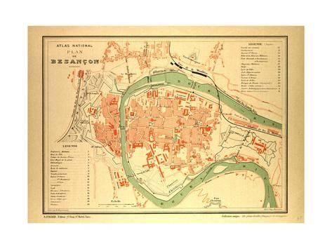 Giclee Print Map of Besan§on France 24x18in Products