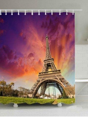 Eiffel Tower At Dusk Print Bath Shower Curtain Eiffel Tower