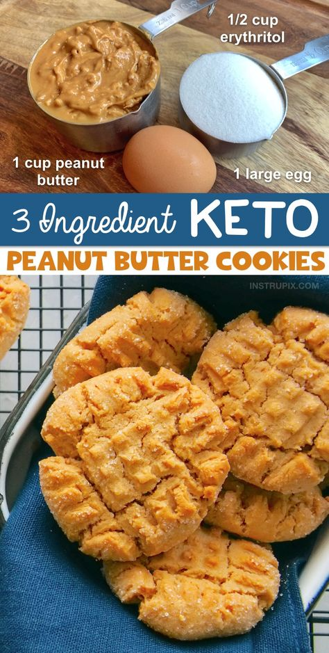 The BEST Easy 3 Ingredient Keto Dessert Recipe! Low Carb Peanut Butter Cookies (Quick & Easy) 3 Ingredient Low Carb Peanut Butter Cookies (an easy keto dessert recipe!) — This recipe is so simple. Desserts Keto, Keto Friendly Desserts, Keto Dessert Easy, Keto Snacks, Dessert Recipes, Breakfast Recipes, Dinner Recipes, Simple Keto Desserts, Keto Breakfast Muffins