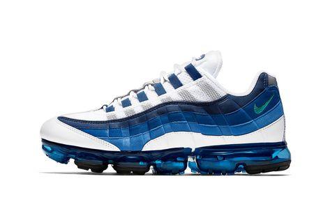 new york f6697 bd853 nike vapormax 95 drop release date closer look colorway release september 6  2018 White New Green French Blue Lake Blue Obsidian AJ7292-100 sneaker shoe  ...