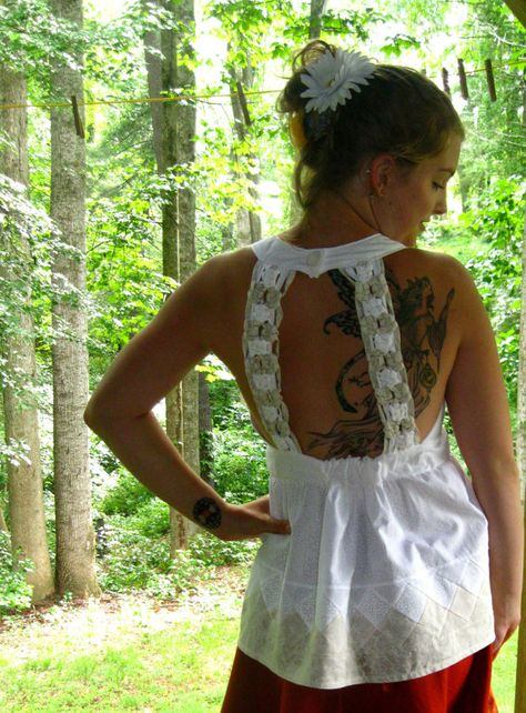 handmade macrame back White seminole patchwork top by amyvsfabric, $45.00