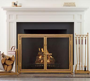 Industrial Fireplace Open Door Screen Potterybarn Industrial Fireplaces Fireplace Screens Classic Fireplace
