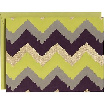 Chevron Chartreuse & Gold A2 Stationery