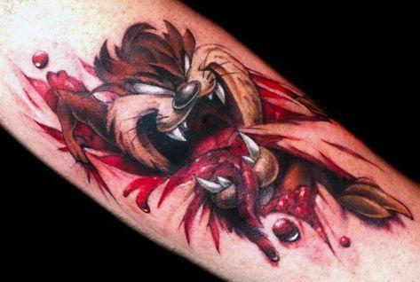 3c9830f7f Ripped Skin 3d Forearm Tasmanian Devil Tattoos For Gentlemen