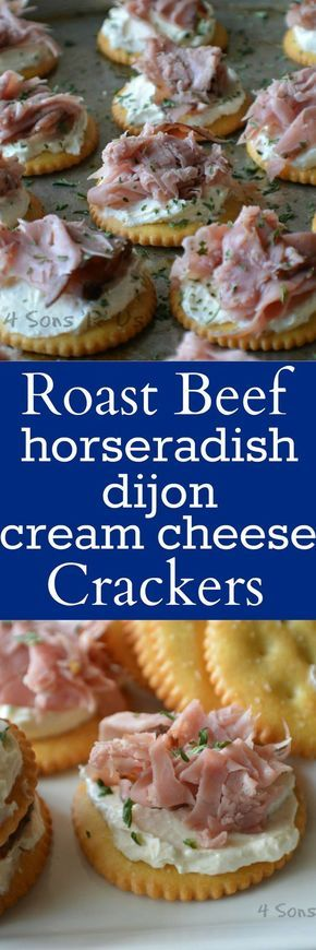 Just the right amount of creamy and crunchy textures, with a little zip of horseradish and the tang of gourmet mustard– Roast Beef & Horseradish Dijon Cream Cheese Snack Crackers couldn't be more perf (Cheese Snacks) Cold Appetizers, Finger Food Appetizers, Appetizers For Party, Appetizer Recipes, Cheese Recipes, Italian Appetizers, Roast Beef Appetizers, Dinner Parties, Party Recipes