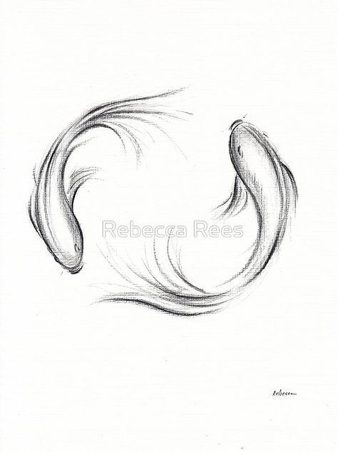 Seijaku - Tranquil Koi charcoal drawing