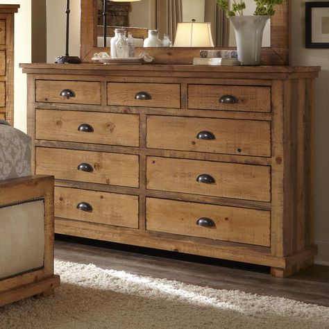 Distressed Pine Drawer Dresser Willow By Progressive Furniture