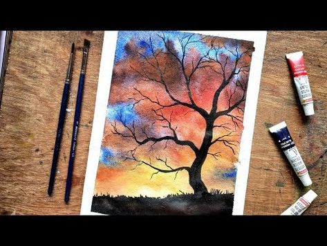 Easy Watercolor Misty Forests Paint With Me Watercolor Tutorial