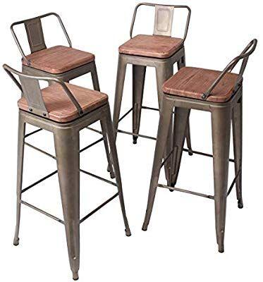 Yongqiang Set Of 4 Swivel Bar Stools 30 Inch Metal Barstools