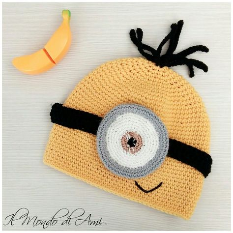 Ba-na-naaaaaaa!!!!  Berretto Minion #berretto #hat #uncinetto #fattoamano #minions #despicableme #cattivissimome #minion #crochet #handmade
