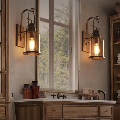 Rustic Country Style Jar Wall Light In Clear Glass Shade For Outdoor Warehouse Barn Wall Lights Sconces Wall Sconces