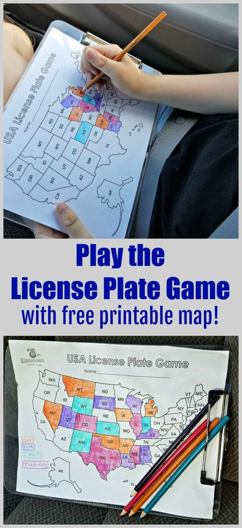 License Plate Game FREE printable Road Trip Games great activity for a long car ride plus fun way to learn geography too kids teens and families can play together Car Ride Activities, Travel Activities, Activities For Kids, Indoor Activities, Car Ride Games, Kids Travel Games, Road Trip With Kids, Family Road Trips, Travel With Kids