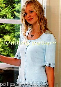 Knitting Pattern For Lace Topped Cardigan With Elbow Length Sleeves