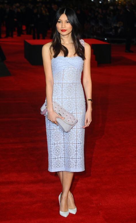 Gemma Chan in Burberry Prorsum at the 'Jack Ryan: Shadow Recruit' London Premiere
