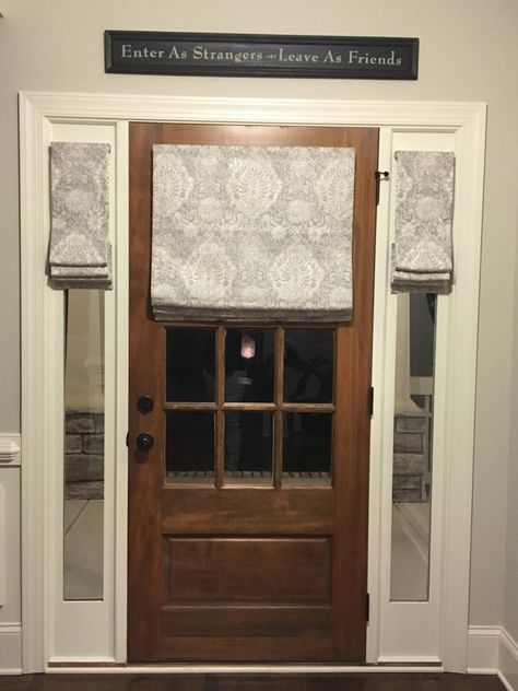 Custom Made Flat Front Roman Shade Window Treatments For Your Etsy Door Coverings Front Door Blinds Sidelight Windows