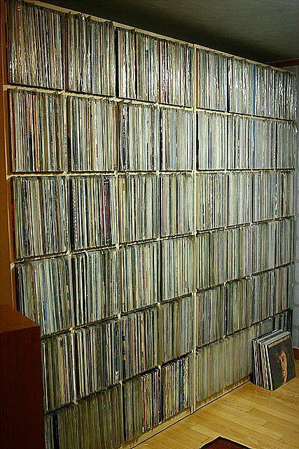 Vinyl Collection - bookshelves full of audio records, 33-1/3